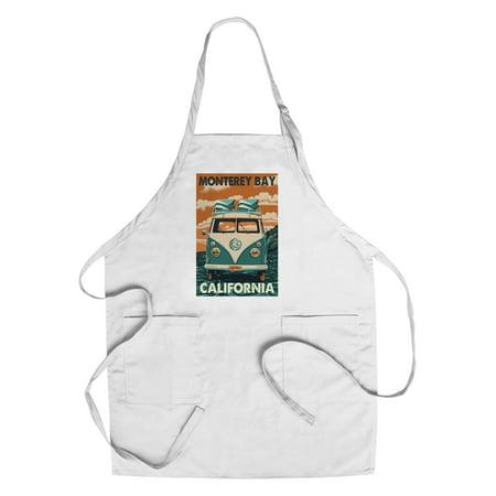 Monterey Bay  California   Vw Van   Letterpress   Lantern Press Artwork  Cotton Polyester Chefs Apron