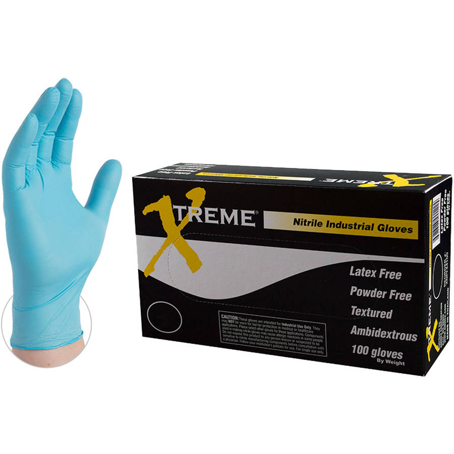 Xtreme Blue Nitrile Industrial Disposable Gloves, Small by AMMEX