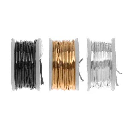 Artistic Wire  3 Pack Craft Wire Assorted Variety Pack   Silver  Brass  Gun Metal Hematite 26 Ga  15 Yds