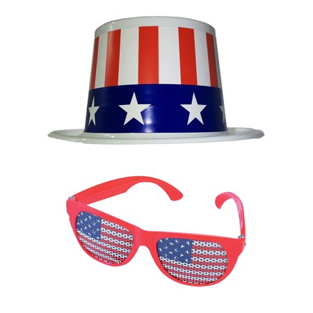 4th of July Stars and Stripes Plastic Topper Top Hat And American Flag Glasses (Striped Top Hat)