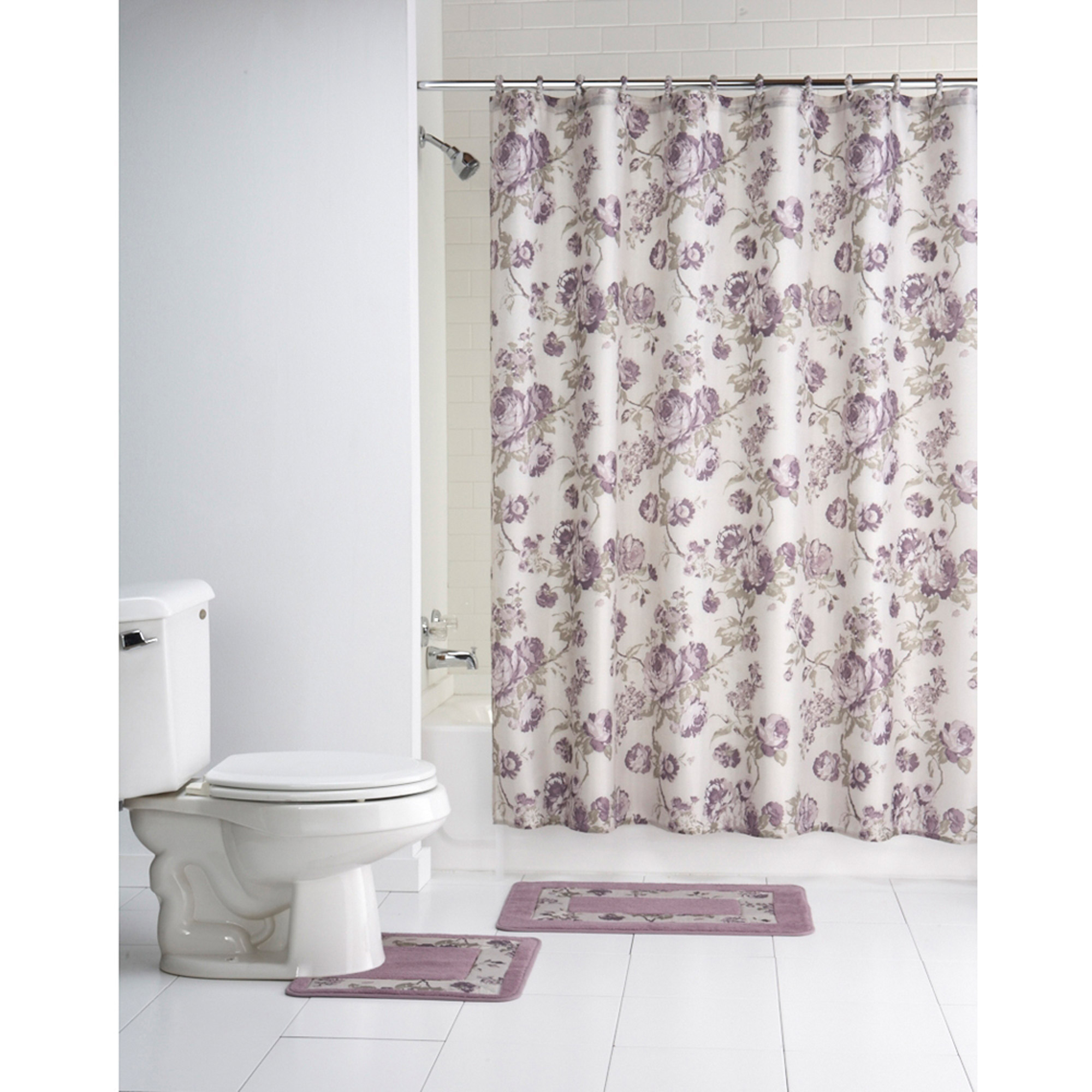 Mainstays Multi Color Fl Chelsea 15 Piece Polyester Bath In A Bag Set Shower Curtain And Rugs Included