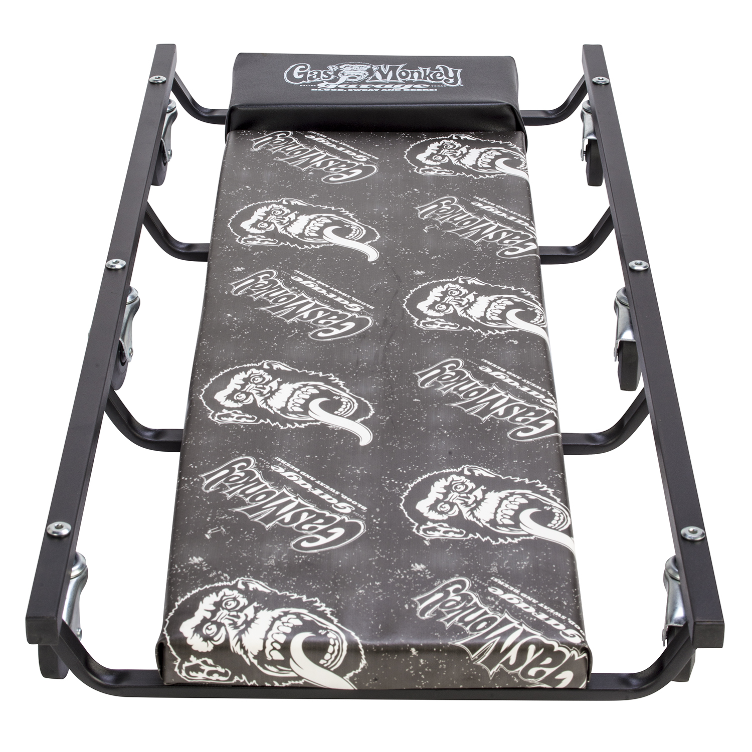Gas Monkey Garage Mechanic Creeper with Headrest - Vinyl Cushion and 6 Rolling Casters - 350 Lbs Capacity