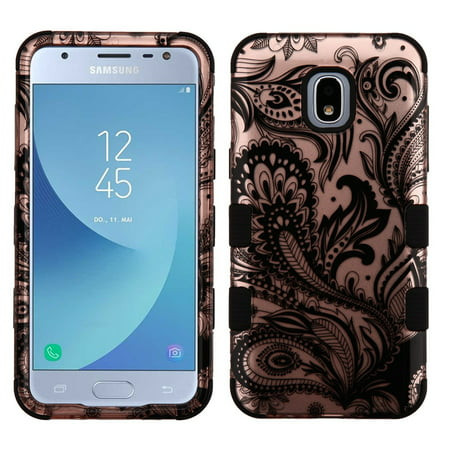TUFF Hybrid Series Phone Protector Cover Case and Atom Cloth for Samsung Galaxy Express Prime 3 (AT&T) - 2D Paisley Flowers