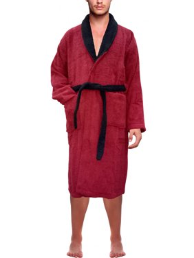 Product Image Men s 100% Terry Cotton Bathrobe Toweling Gown Robe Two tone  Blue Small 6efc15be7