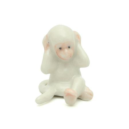Handmade Miniatures Ceramic White Cross-legged Monkey Figurine Animals Decor/Animal Collection