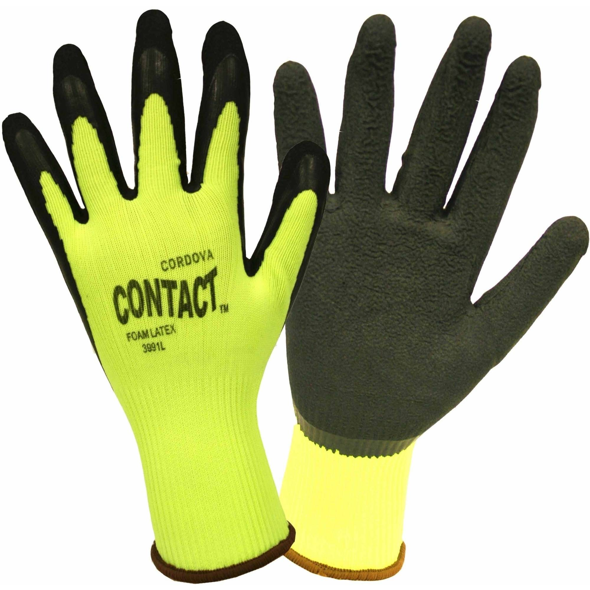 Green Nylon Work Gloves with a Black Foam Latex Palm Coating, Pack of 12 Pairs