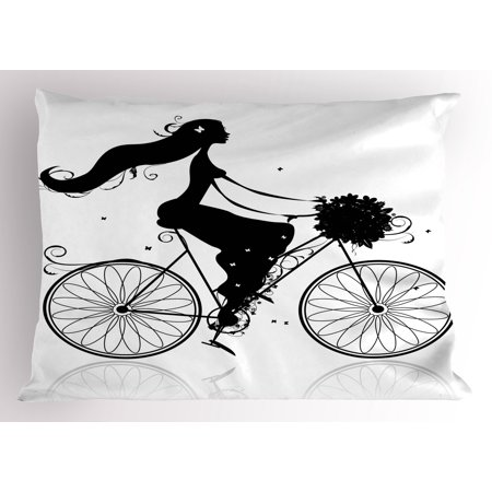 Black and White Pillow Sham Young Woman Silhouette with a Bouquet of Spring Flowers Cycling Bridal, Decorative Standard Size Printed Pillowcase, 26 X 20 Inches, Black and White, by
