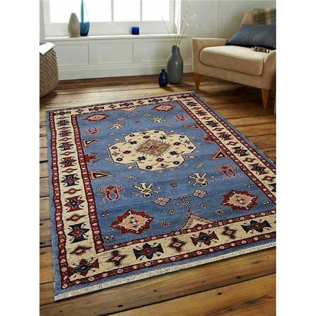 5 x 8 ft. Kazak Hand Knotted Persian Afghan Wool & Silk Area Rug, Blue & White - image 1 de 1