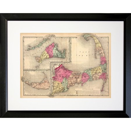 Buy Art For Less 1871 Cape Cod Map Framed Graphic Art