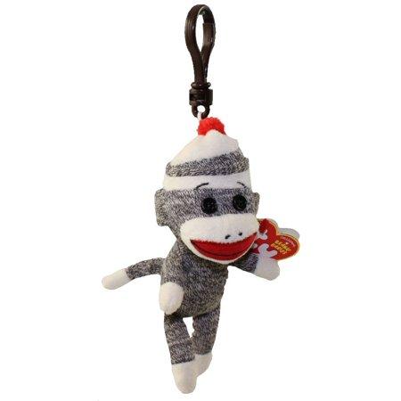 TY Beanie Baby - SOCKS the Sock Monkey (Grey) ( Plastic Key Clip ) (5.5 inch) - Ty Keychains