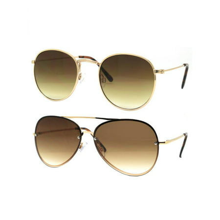 Time and Tru Women's Metal Sunglasses 2-Pack Bundle: Aviator Sunglasses and Round (Aviator Meaning)