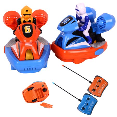 Costway New RC Speed Bumpers 2 Cars Remote Controlled Chases Kids Toy Fun Crash Sound ()