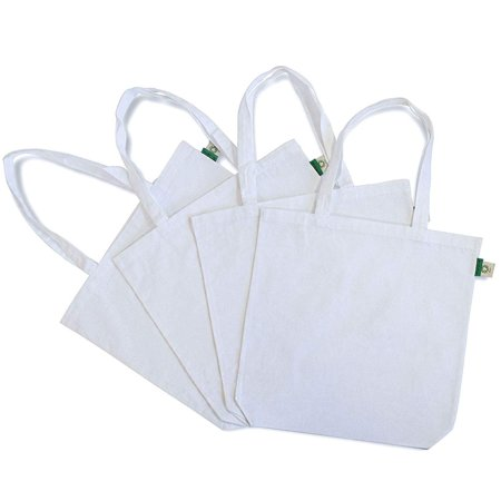 4 Pcs. Supreme Quality White Reusable Cotton Canvas Tote Bags Gifts Bags For Shopping, Grocery Bags, Size(15.7x3.3x15.7) Inches Our eco-friendly tote bags are made from 100% natural cotton. They can be used as crafting bags, shopping bags, grocery bags or as a weekend travel tote bag. The versatile material also makes the bag perfect for all of your crafting needs. These canvas bags can also be decorated with an assortment of crafting supplies. there size is (15.7x3.3x15.7) Inches