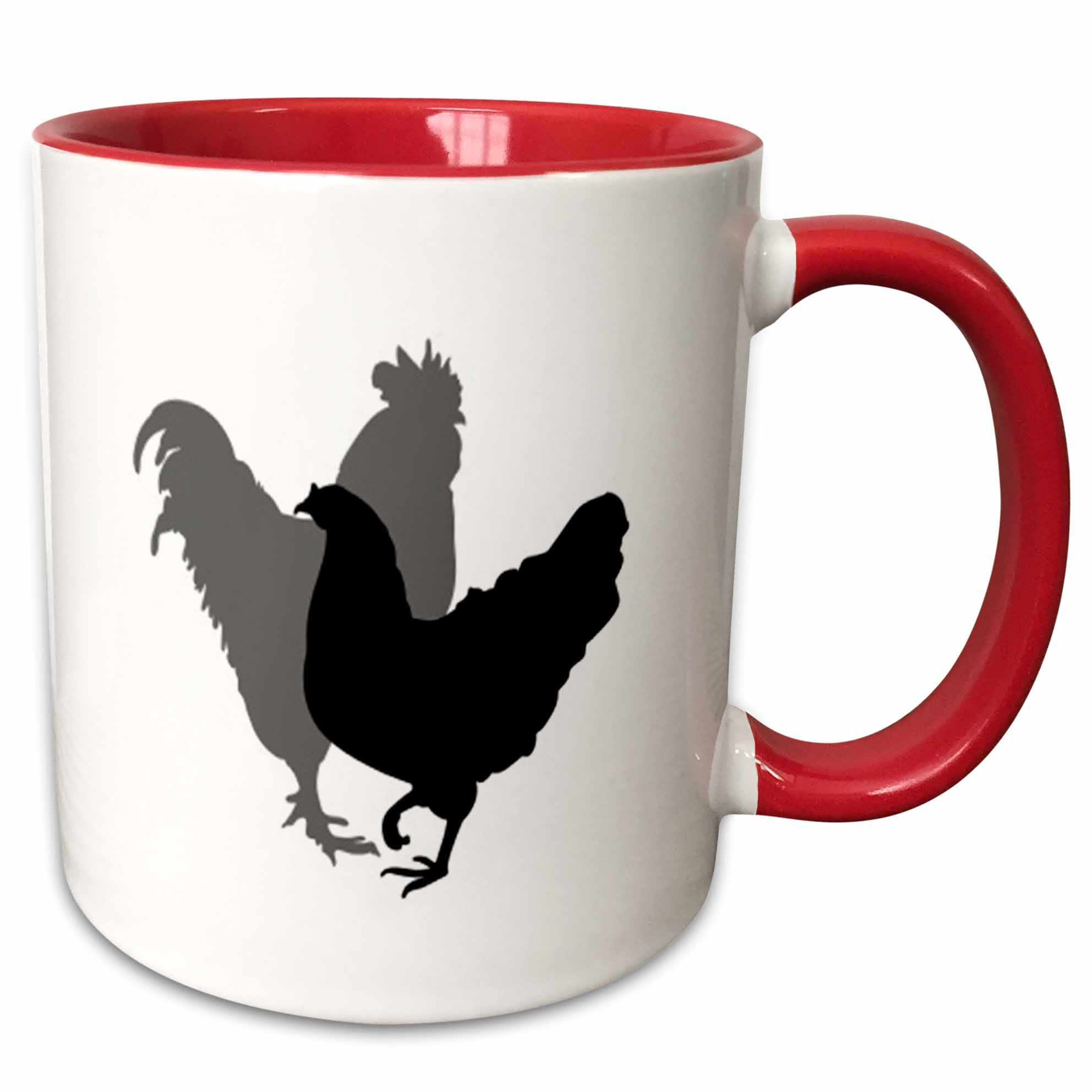 3dRose Image of Silhouette Of Gray And Black Roosters - Two Tone Red Mug, 11-ounce