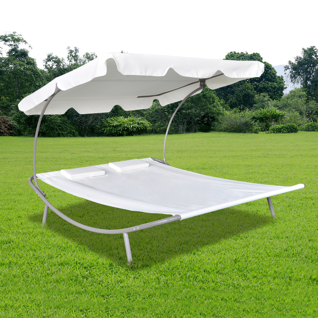 Anself Outdoor Double Sun Bed with Canopy & 2 Pillows Cream White by
