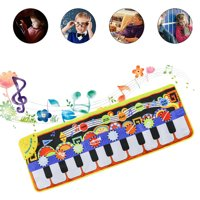 Peroptimist 19 Keys Musical Piano Mat,  Piano Keyboard Play Mat Children Foot Touch Play Portable Musical Blanket Build-in Speaker and Recording Function for Kids Toddler Girls Boys