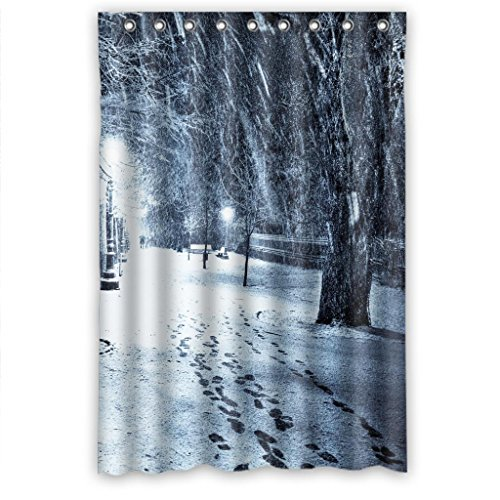 Mohome Snow Foot Tree Light Shower Curtain Waterproof