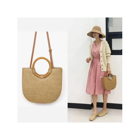 Women Handbag Half Round Chic Summer Straw Beach Bag Handbag Shoulder Messenger Tote