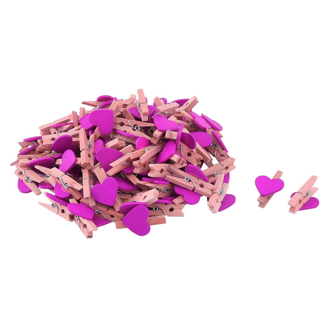 Hotel Canteen Wood Heart Shaped DIY Picture Photo Painting Clip Fuchsia 100 Pcs