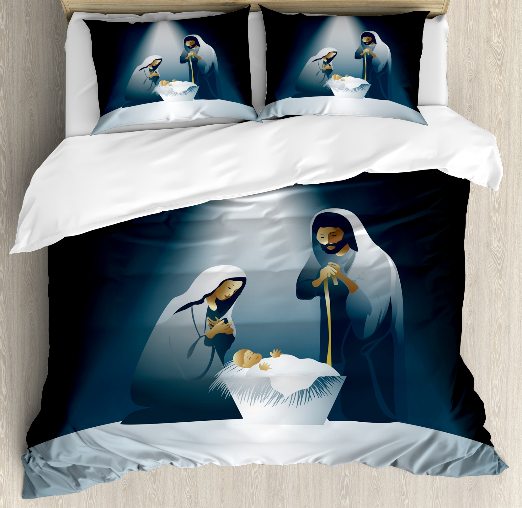 Religious King Size Duvet Cover Set, Xmas Nativity Scene with Holy Family Maria Joseph Baby Child Star Winter, Decorative 3 Piece Bedding Set with 2 Pillow Shams, Black White Grey, by Ambesonne