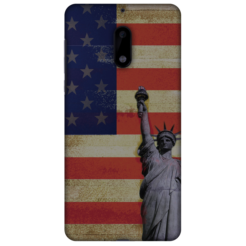 Nokia 6 Case, Ultra Slim Designer Snap On Hard Shell Case Back Cover with Screen Cleaning Kit for Nokia 6 - Rustic Liberty US Flag