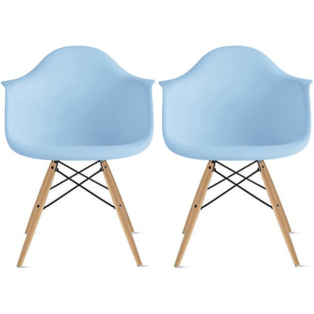 2xhome Set of 2 Blue Desk Chairs Mid Century Modern Plastic Dining Chair Molded Arms Armchairs Natural Wood Legs Desk No Wheels Accent Vintage Designer for Small Space Table Furniture Living Room DSW