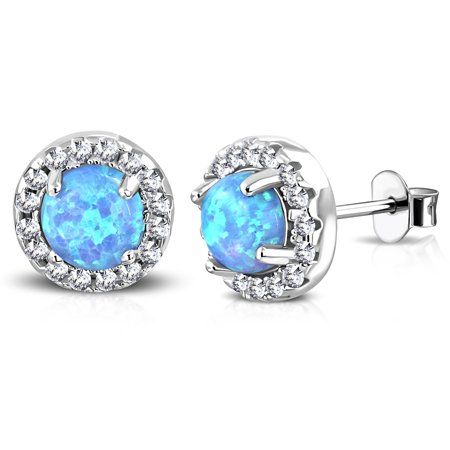 925 Sterling Silver White Clear CZ Simulated Blue Opal Circle Round Stud Earrings, (Blue Circle Earrings)
