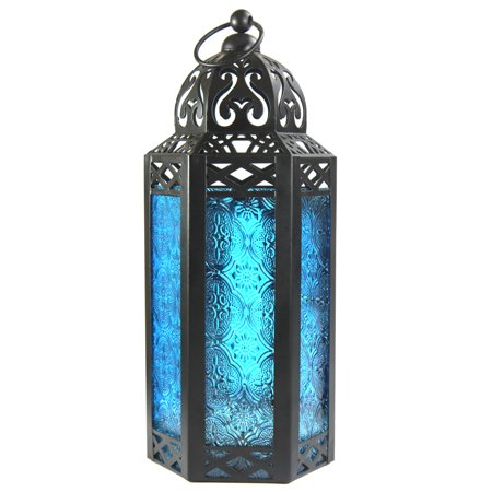 Blue Glass Decorative Moroccan Style Candle Lantern