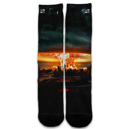 Mushroom Socks (Custom Elite Style Athletic Sport Socks Crew 18 Inch / Mushroom Cloud, Atom Bomb)
