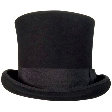 Mad Hatters Hat (Black Victorian Top Hat 100% Wool Mad Hatter L/XL Felt Caroler Dickens)