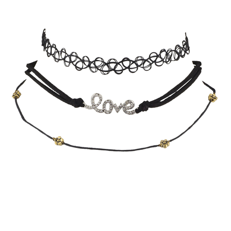 Lux Accessories Black Tattoo Love and Flower Choker Set (3PCS)