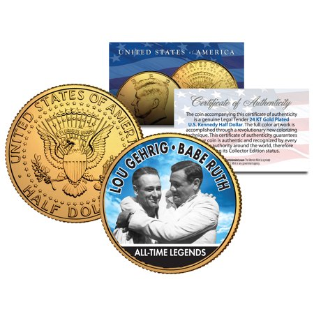 LOU GEHRIG & BABE RUTH Baseball Legends JFK Half Dollar 24K Gold Plated US Coin