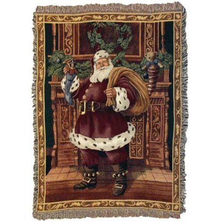 Fireplace Santa Christmas Holiday Tapestry Throw Blanket