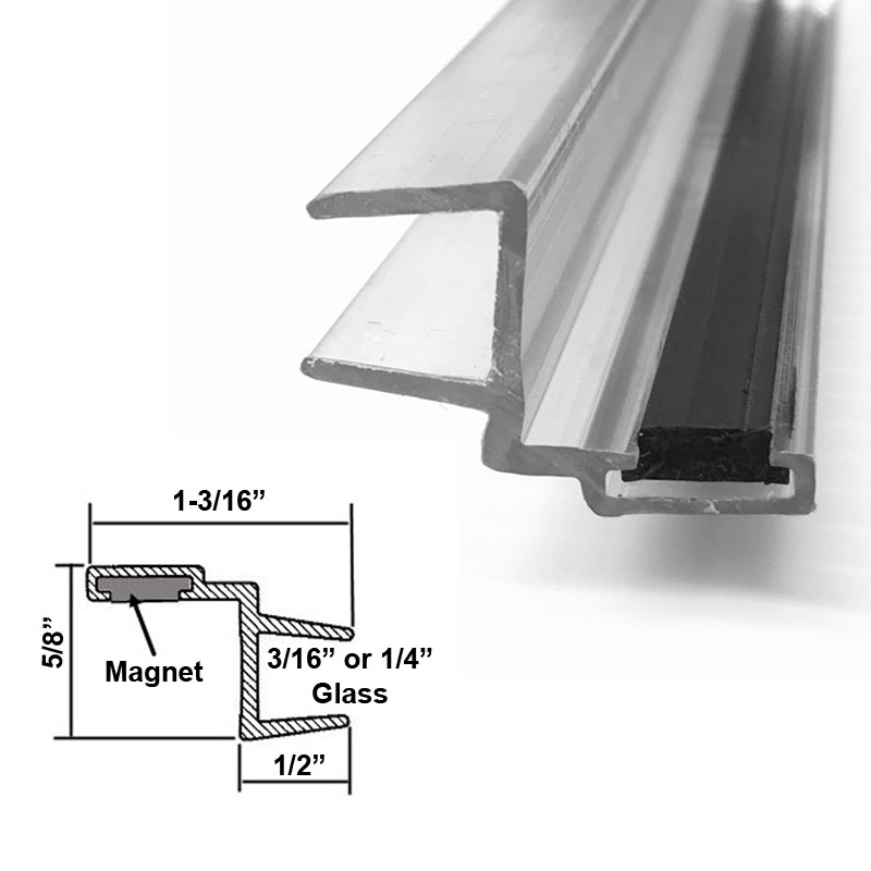 """Universal Clear Polycarbonate U-Channel with Magnet for 3//16/"""" and 1//4/"""" Glass"""