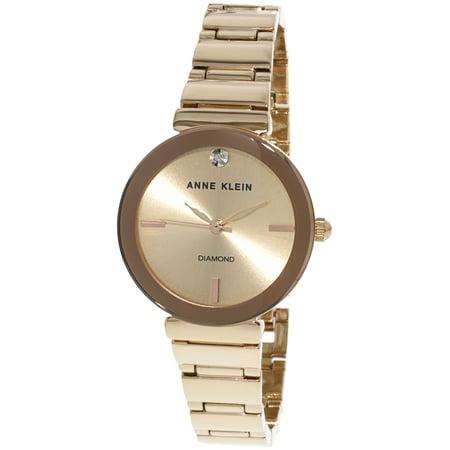 Anne Klein Tie - Anne Klein Women's Diamond Dial Rose-Gold Bracelet Watch AK-2434RGRG