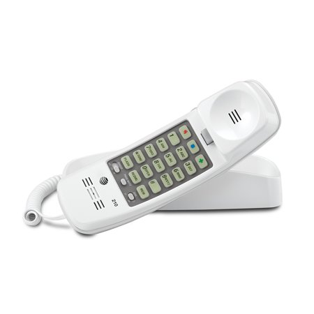 AT&T 210 Corded Trimline Phone with Speed Dial and Memory Buttons, White ()