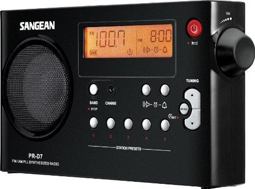 Sangean PR-D7 Desktop Clock Radio FM, FM, AM, AM Battery Rechargeable Manual Snooze by Sangean
