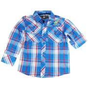 Beverly Hills Polo Club Little Boys' Blue Plaid Long Sleeve Roll-Up Shirt