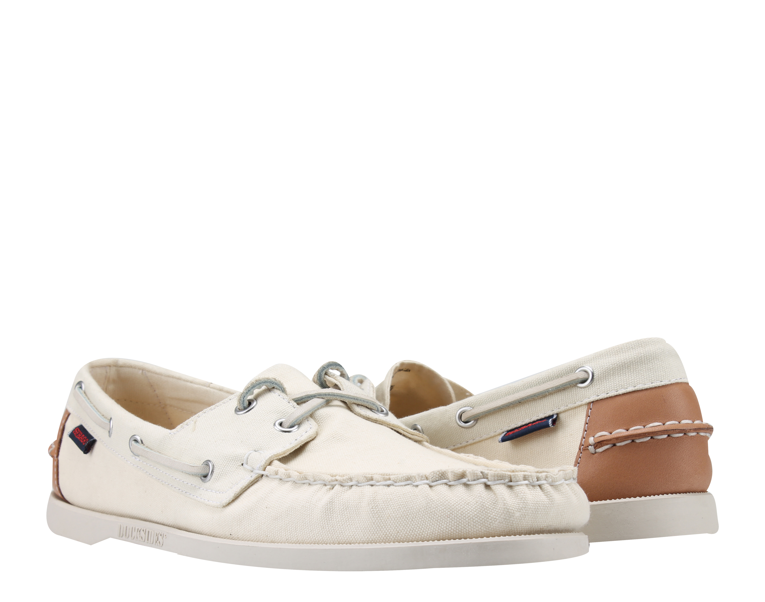 Sebago Docksides Beige Canvas Tan Leather Men's Boat Shoes B720143 by