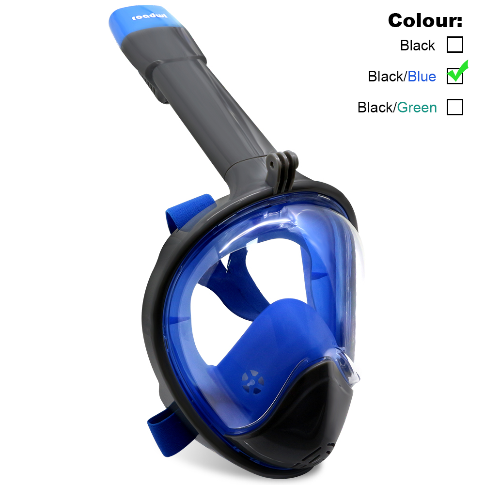 ROADWI New Full Face Snorkel Mask Easy Breath Panoramic 180 View with Anti Fog Anti Leak 100% Silicone Skirt Dry Snorkel... by