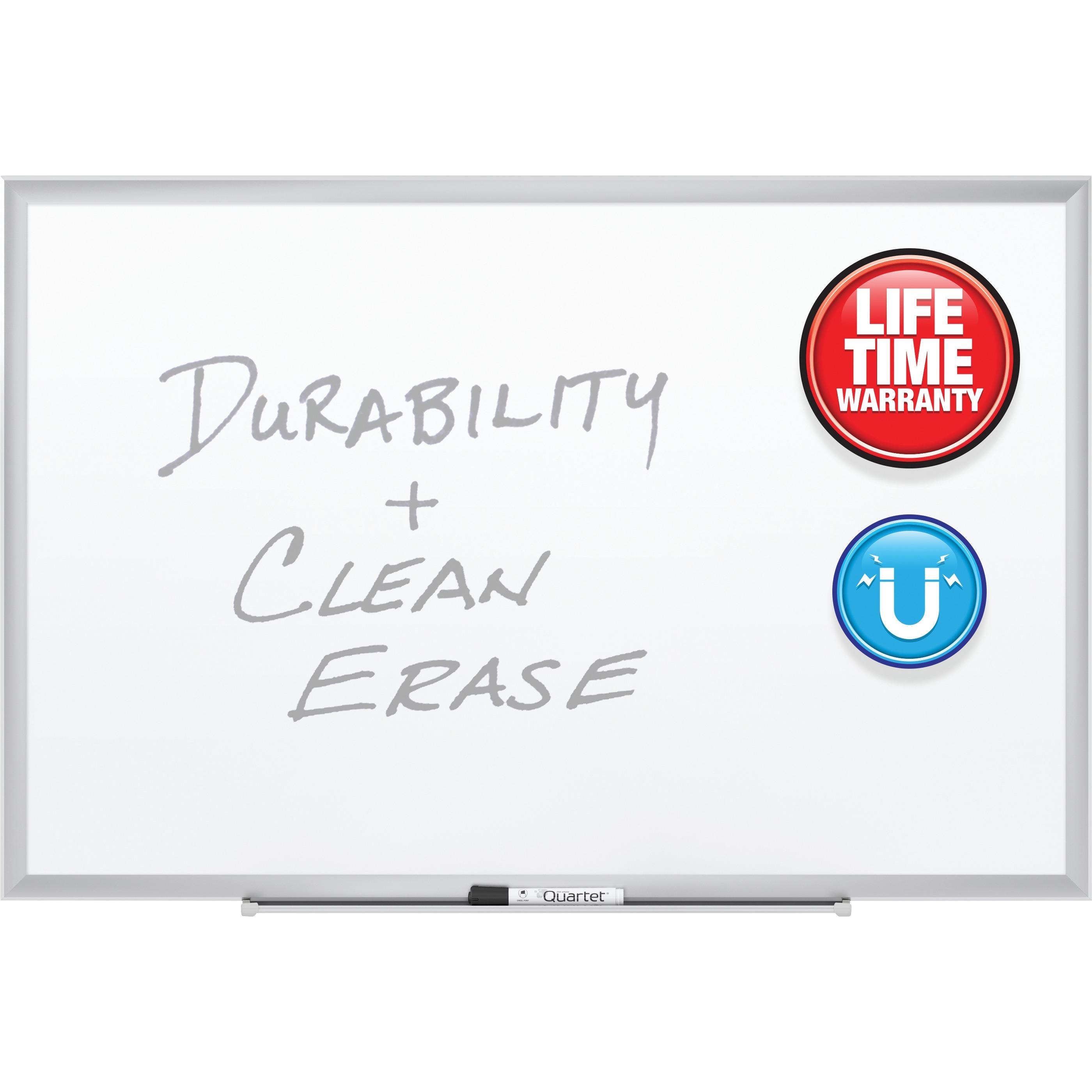 Quartet Premium DuraMax Porcelain Magnetic Whiteboard, 3' x 2', Silver Aluminum Frame