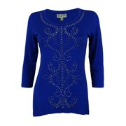 JM Collection Women's 3/4 Sleeve Studded Tunic Top