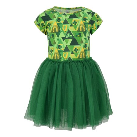 Girls St Patricks Day Clover Print Tutu Dress (3T, Green) - St Patricks Dress