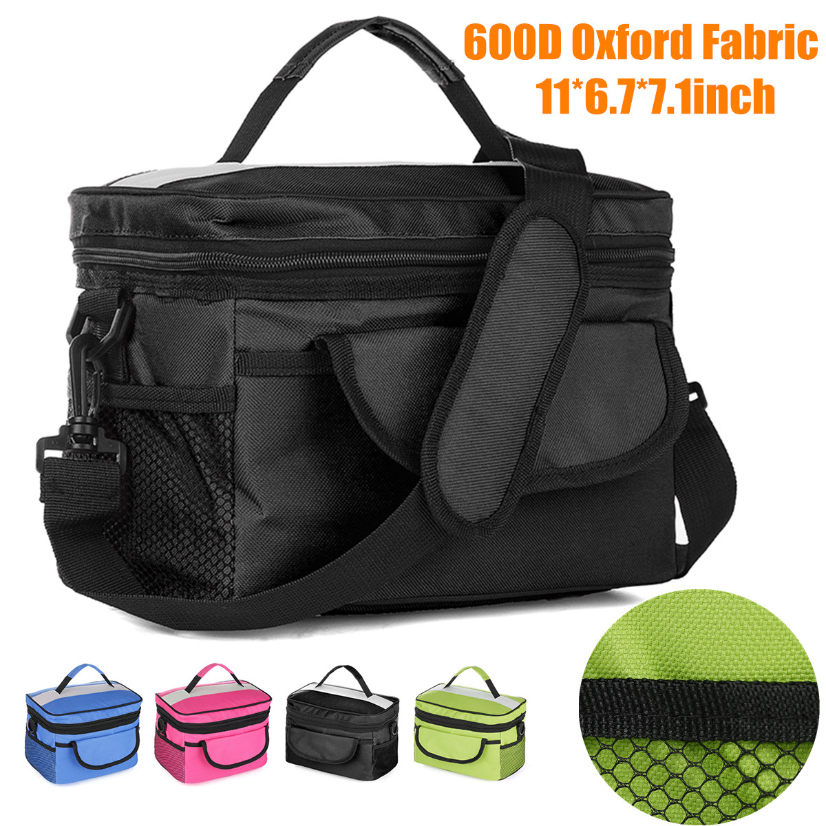 Large Waterproof Portable Thermal Insulated Cooler Keep Warm Lunch Box Bag Food Drink Storage Bag Picnic Carry Tote with Shoulder Strap Handle Green,Blue,Red,Black