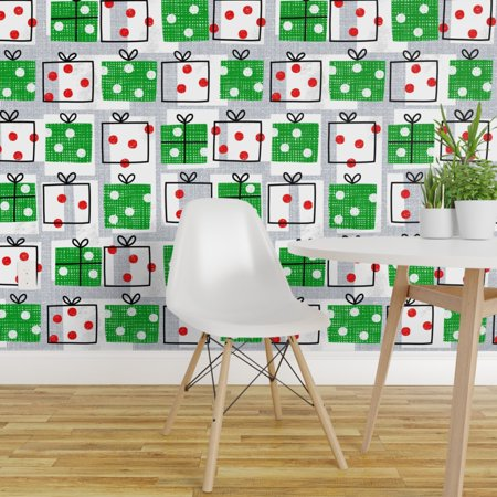Wallpaper Roll Christmas Gifts Designs Red Green Xmas Festive 24in x 2