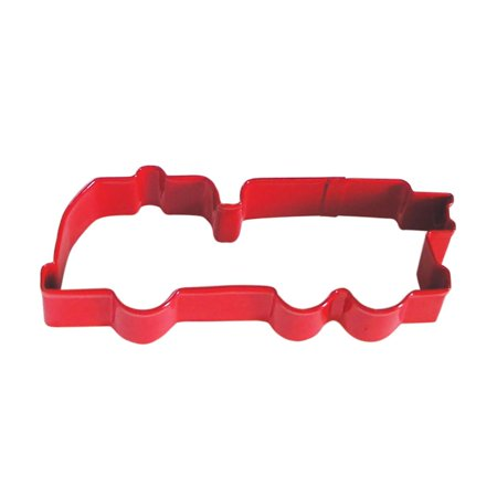 Fire Truck Red Poly Resin Coated Tin Cookie Cutter 5 in - R&M Cookie Cutters - Tin Plate Steel - Fire Truck Plates