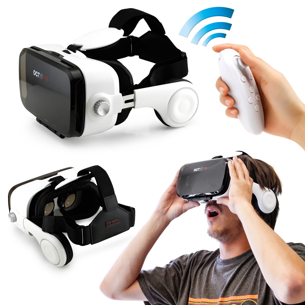 Oct17 3D Virtual Reality VR Z4 4th Glasses Box Headset Headphones Earphones Goggles with Bluetooth Remote Control For IOS Android Iphone 6 plus Samsung Galaxy S6 Edge+