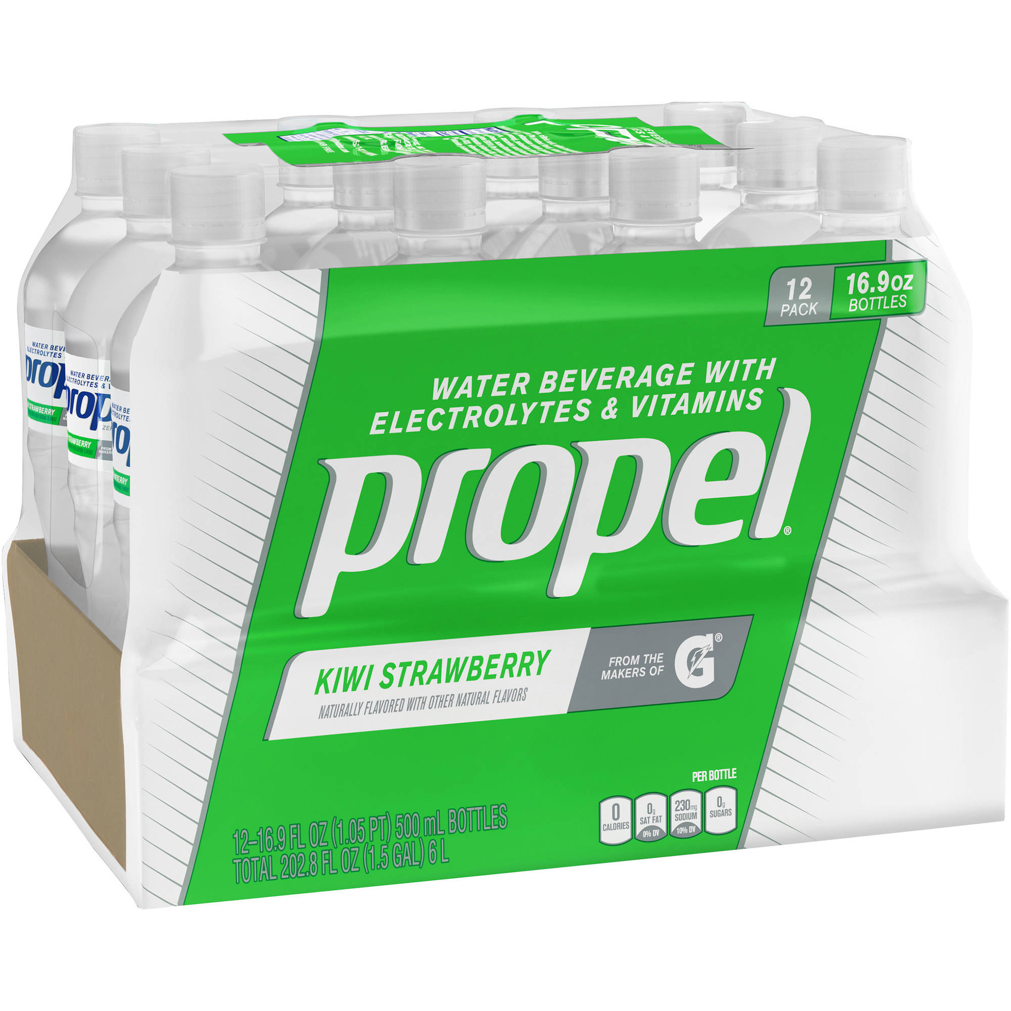 Propel Kiwi Strawberry Water Beverage with Vitamins, 16.9 fl oz, 12 pack