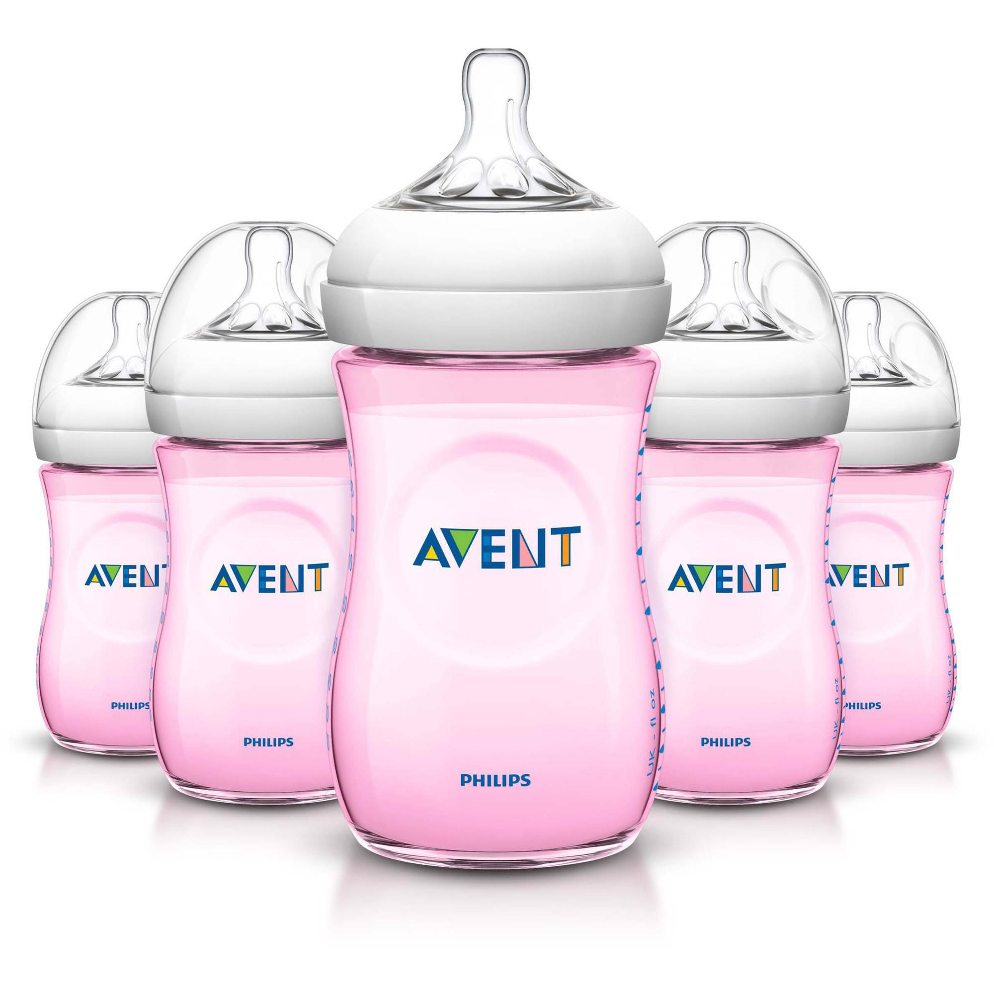 Philips Avent BPA Free Natural Pink Baby Bottles, 9 Ounce, 5 Pack by Philips