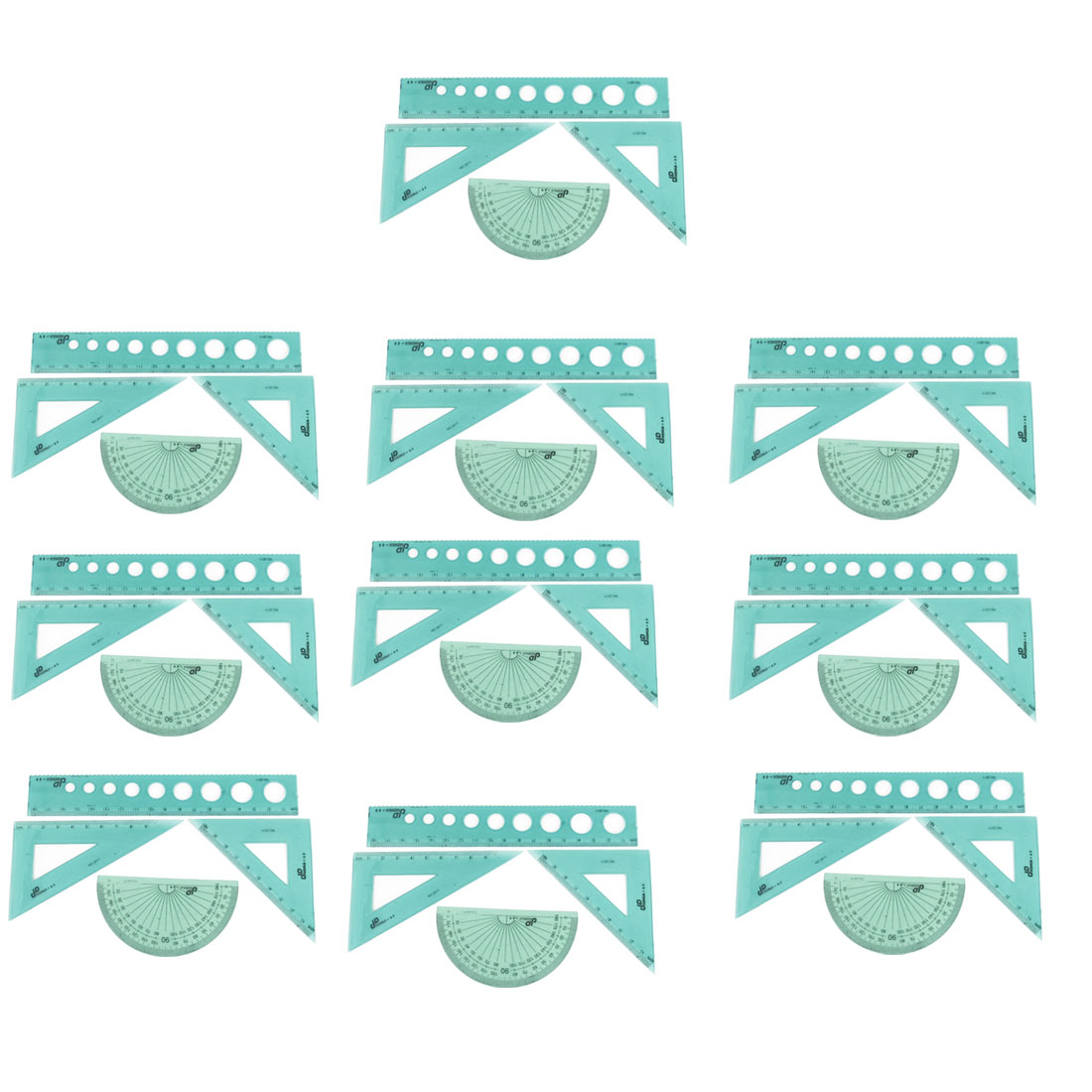 10 Sets Square 18cm Straight Ruler Protractor Combination 4 in 1 Measuring Tool